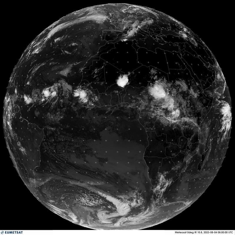Aktuální IR snímek polokoule nad západní Evropou a afrikou (satelit).